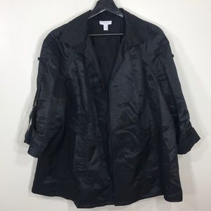 Charter Club Open Front Waxed Linen Swing Jacket